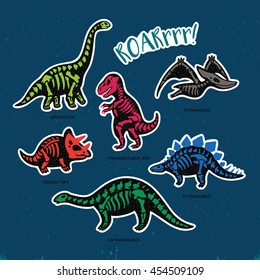 Collection of stickers with fossil dinosaurs in cartoon style. Vector illustration