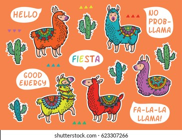Collection of stickers with Llama and catuses.