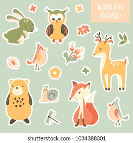 Collection of stickers with wild animals and flowers. Illustration for children in vector.