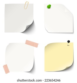 collection of sticky papers with pin needle, adhesive tape