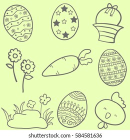Collection stock of easter style doodles