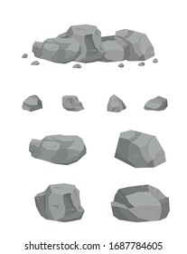 A collection of stones in the style of 3D isomerism. Stones of different shapes for web design. Stones and rocks in isometric 3d flat style. Set of different boulders.