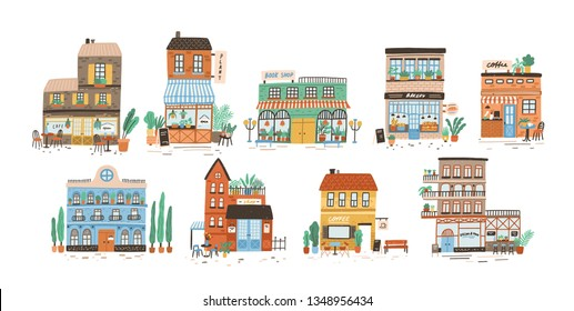 Collection of stores, shops, cafe, restaurant, bakery, coffee house isolated on white background. Bundle of buildings on street of European city. Flat vector illustration in cute naive style.