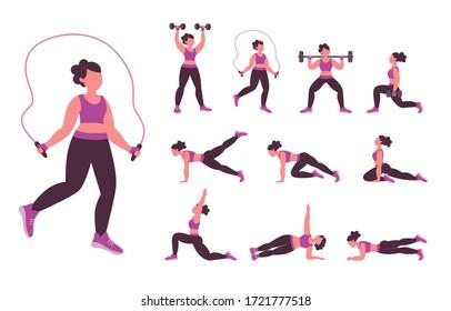 Recolección de ejercicios de fuerza y calisthenics que se pueden hacer en casa. Juego 2 de 2. Ilustración vectorial con caracteres aislados en fondo blanco.