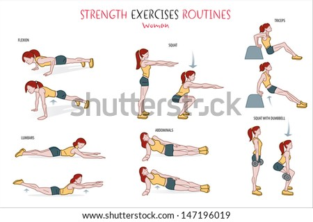 collection strength exercise routine performedstock