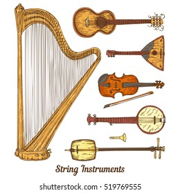 Collection of String Musical Instruments. Isolated on a White