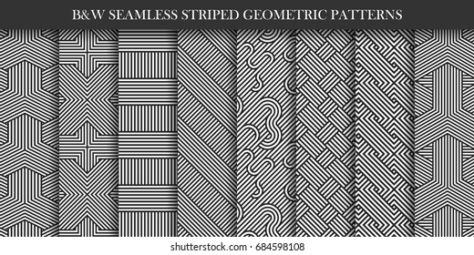 Collection of striped patterns. Black and white repeatable geometric texture. You can find seamless backgrounds is swatches panel.