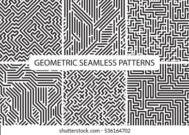 Collection of striped seamless geometric patterns. Black and white texture. Digital backgrounds.
