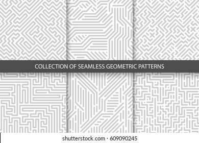 Collection of striped seamless geometric patterns. Gray and white texture. Digital backgrounds.