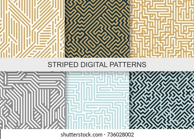 Collection of striped seamless geometric patterns. Colorful texture. Digital background.