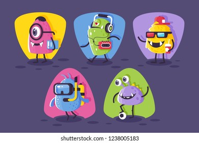 Collection student, footballer, diver monsters with horrible elements for halloween. Concept modern set creatures for event. Vector illustration.