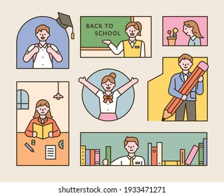 A collection of students wearing school uniforms. A composition in which children are studying in various types of frames. flat design style minimal vector illustration.