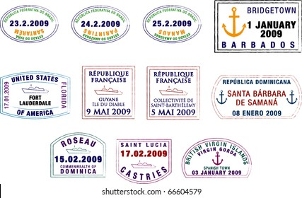 A collection of stylised vector South American and Caribbean passport stamps on a white background.