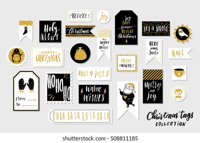 Collection of stylish black white gold New year and christmas gift cards. Set of printable hand drawn holiday stamps tags badge pins stickers greeting cards templates. Vector seasonal design
