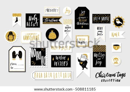 collection of stylish black white gold new year and christmas gift cards set of printable