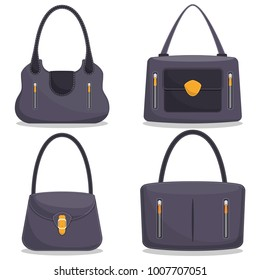 548b35cc14 Collection of stylish colorful leather handbags with white stitching. Woman  bag. Ladies handbags isolated