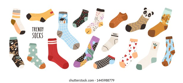 Collection of stylish cotton and woolen socks with different textures isolated on white background. Bundle of trendy clothing items. Modern garment or apparel set. Flat cartoon vector illustration.