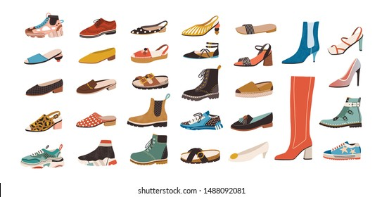 Collection of stylish elegant shoes and boots of different types isolated on white background. Bundle of trendy casual and formal men's and women's footwear. Flat cartoon colorful vector illustration.