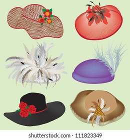 Collection of stylish hats with feathers and flowers for woman