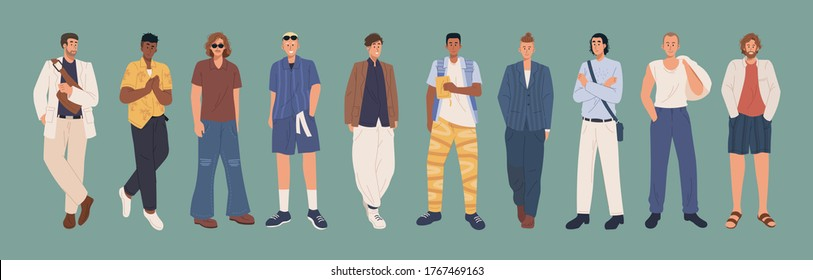 Collection of stylish men dressed in casual and formal trendy clothes. Young fashionable men. Flat cartoon illustration