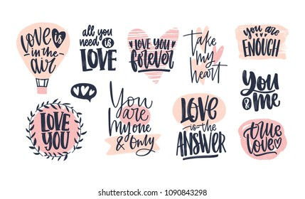 Collection of stylish Valentine's day lettering handwritten with elegant cursive font. Romantic phrases, slogans decorated by pink hearts isolated on white background. Hand drawn vector illustration