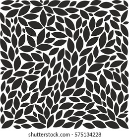 Collection of stylized black leaves for design