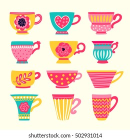 Collection of stylized teacups. Tea party