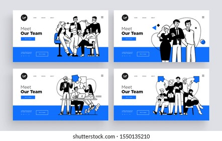 Collection of succesfull team web page templates. Teamwork concept outline vector style.
