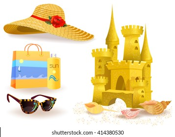 Collection of summer accessories for the holiday. Sand castle on the sand of the sea, beach bag, spray tanning and sun glasses and straw hat from the sun with large fields isolated on white.