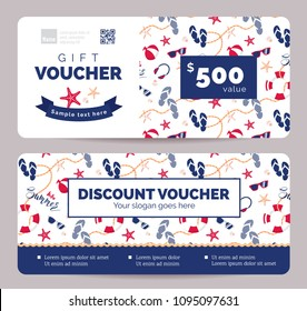 Collection of summer gift vouchers for kids goods .  Gift certificate for a holiday.  Vector flat illustration