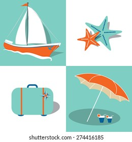 Collection of summer icons in flat style in vector