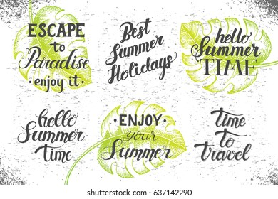 Collection of the summer lettering. Set of hand written quotes. Summer time. Vector