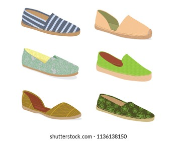 Collection of Summer Shoes. Light Shoes. Textile Shoes for Women.