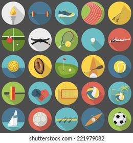 Collection of summer sports vector flat icons, part 1
