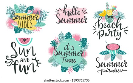 Collection of summertime typography quotes about summer. Hand lettering summer vibes, summer time, beach party words and modern vector illustration with palm leaves and fruits