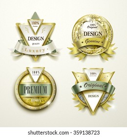 collection of sumptuous gold and jewelry labels design set