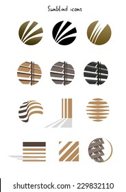 Collection of sun blinds icons, concept, illustration isolated on white