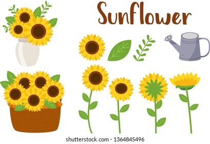 The collection of sunflower elements. Sunflowers set in flat vector style. illustration for content , banner, sticker label and greeting card.