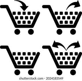 Collection of supermarket shopping cart symbol with adding or deleting one or all items from the shopping cart