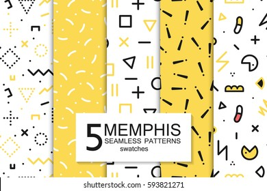 Collection of swatches memphis patterns - seamless. Fashion 80-90s. Abstract trendy vector backgrounds.