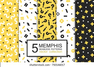 Collection of swatches memphis patterns - seamless design. Fashion 80-90s. Abstract trendy vector backgrounds.
