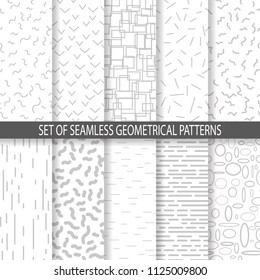 Collection of swatches memphis seamless patterns. Retro doodles style 80-90s. Vector eps10