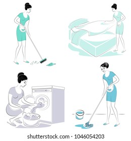 Collection. Sweet lady. The girl makes a bed in the room, sweeping, washing the floor, washing clothes in a typewriter. A woman is a good wife and a neat housewife. Vector illustration.