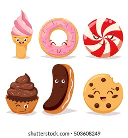 Collection sweets emotion dessert candy and doodle icon, cute cake, candy, sweet ice cream, cookie. Confectionery caramel sweet set. Comic characters. Vector illustrations.