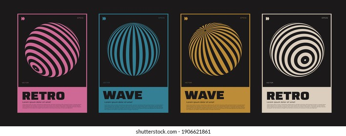 Collection of swiss design posters. Meta modern graphic elements. Abstract modern geometric covers. Circle sphere shapes.