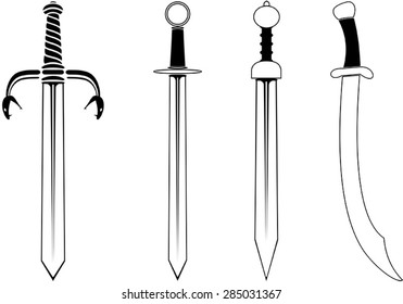 Collection of swords and sabres vector issolated on white background