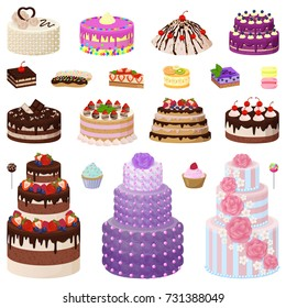 Collection of tasty cakes of different types and colors, decorated with strawberries, raspberries and cherries on vector illustration