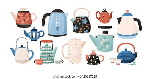 Collection of teapots and kettles isolated on white background. Decorative kitchen tools, household utensils, ceramic drinkware or glassware for tea ceremony. Flat cartoon vector illustration.