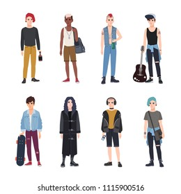 Collection of teenage boys, fans of various youth subcultures or countercultures - punk, rock, hip hop, skateboard, goth. Set of teenagers dressed in modern clothes. Flat cartoon vector illustration.
