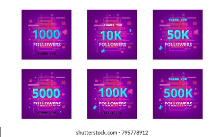 Collection of templates for social media post. Followers thank you phrases on trendy background with random items. Chromatic aberration trendy style. Banner for blog. Vector illustration.